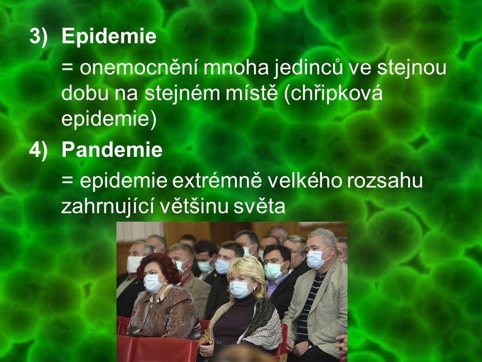 3)Epidemie = onemocnění mnoha jedinců ve stejnou dobu na stejném místě (chřipková epidemie) 4)Pandemie = epidemie extrémně velkého rozsahu zahrnující