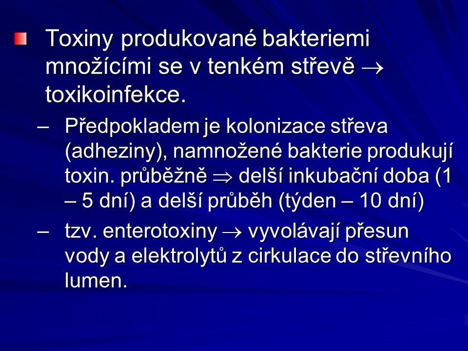 Toxiny produkované bakteriemi množícími se v tenkém střevě  toxikoinfekce.