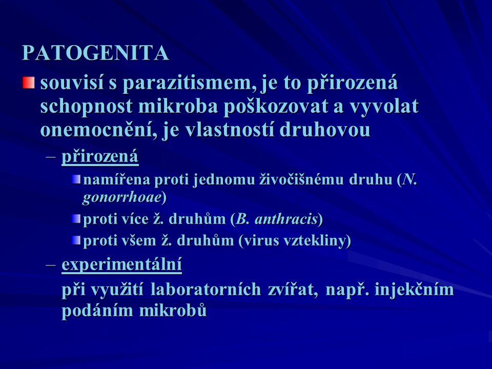 PATOGENITA souvisí s parazitismem, je to přirozená schopnost mikroba poškozovat a vyvolat onemocnění, je vlastností druhovou –přirozená namířena proti jednomu živočišnému druhu (N.