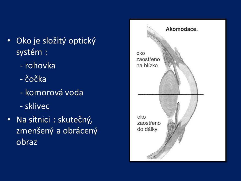 Oko je složitý optický systém : - rohovka - čočka - komorová voda - sklivec Na sítnici : skutečný, zmenšený a obrácený obraz