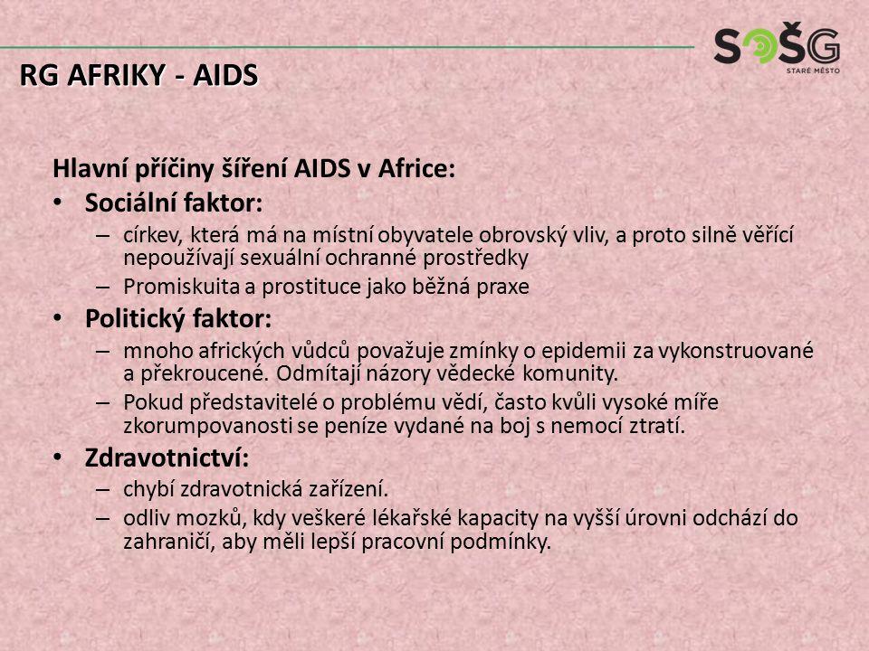 Hlavní příčiny šíření AIDS v Africe: Sociální faktor: – církev, která má na místní obyvatele obrovský vliv, a proto silně věřící nepoužívají sexuální ochranné prostředky – Promiskuita a prostituce jako běžná praxe Politický faktor: – mnoho afrických vůdců považuje zmínky o epidemii za vykonstruované a překroucené.