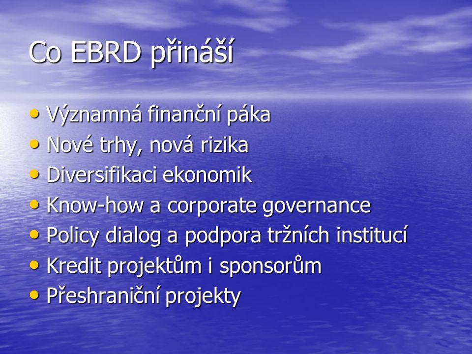 Co EBRD přináší Významná finanční páka Významná finanční páka Nové trhy, nová rizika Nové trhy, nová rizika Diversifikaci ekonomik Diversifikaci ekono