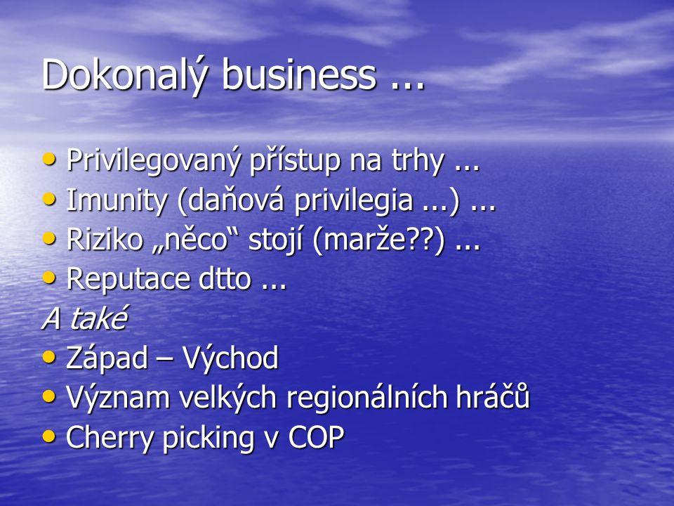 Dokonalý business... Privilegovaný přístup na trhy... Privilegovaný přístup na trhy... Imunity (daňová privilegia...)... Imunity (daňová privilegia...