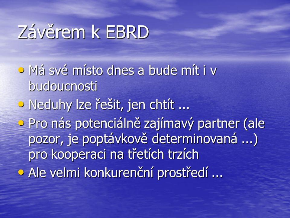 Závěrem k EBRD Má své místo dnes a bude mít i v budoucnosti Má své místo dnes a bude mít i v budoucnosti Neduhy lze řešit, jen chtít... Neduhy lze řeš