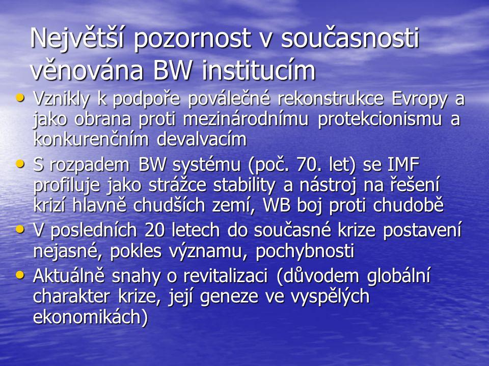 Největší pozornost v současnosti věnována BW institucím Vznikly k podpoře poválečné rekonstrukce Evropy a jako obrana proti mezinárodnímu protekcionis