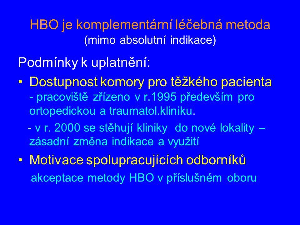 HBO je komplementární léčebná metoda (mimo absolutní indikace) Podmínky k uplatnění: Dostupnost komory pro těžkého pacienta - pracoviště zřízeno v r.1995 především pro ortopedickou a traumatol.kliniku.