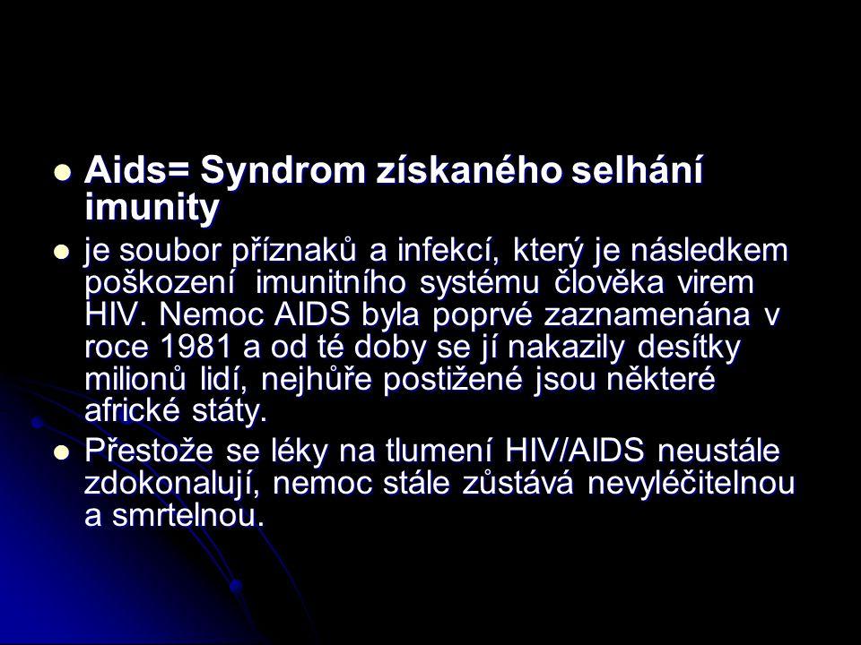 Aids= Syndrom získaného selhání imunity Aids= Syndrom získaného selhání imunity je soubor příznaků a infekcí, který je následkem poškození imunitního systému člověka virem HIV.