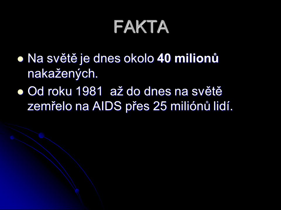 FAKTA Na světě je dnes okolo 40 milionů nakažených.