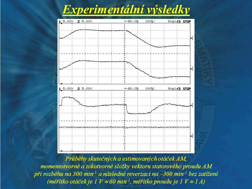 Experimentální výsledky Průběhy skutečných a estimovaných otáček AM, momentotvorné a tokotvorné složky vektoru statorového proudu AM při rozběhu na 300 min -1 a následné reverzaci na –300 min -1 se zatížením (měřítko otáček je 1 V  60 min -1, měřítko proudu je 1 V  1 A)