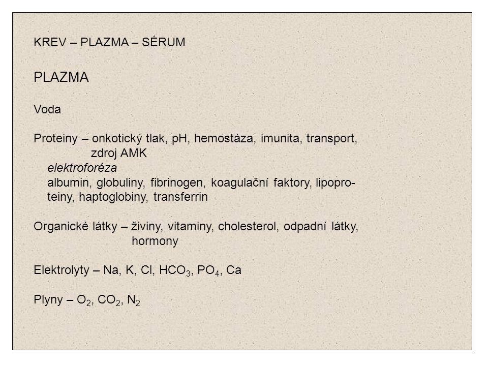 KREV – PLAZMA – SÉRUM PLAZMA Voda Proteiny – onkotický tlak, pH, hemostáza, imunita, transport, zdroj AMK elektroforéza albumin, globuliny, fibrinogen