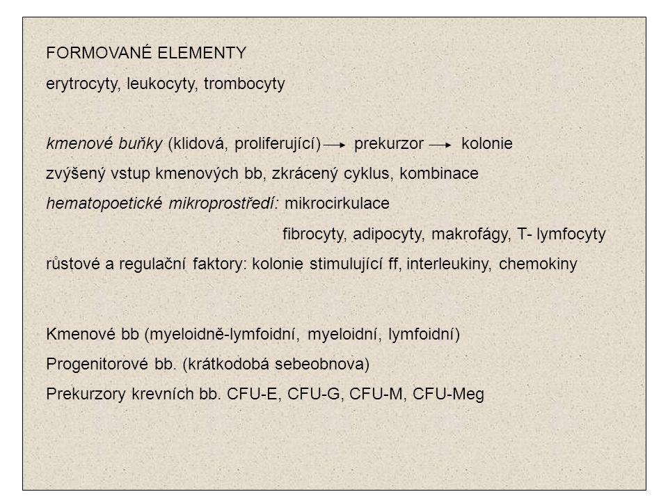 FORMOVANÉ ELEMENTY erytrocyty, leukocyty, trombocyty kmenové buňky (klidová, proliferující) prekurzor kolonie zvýšený vstup kmenových bb, zkrácený cyk