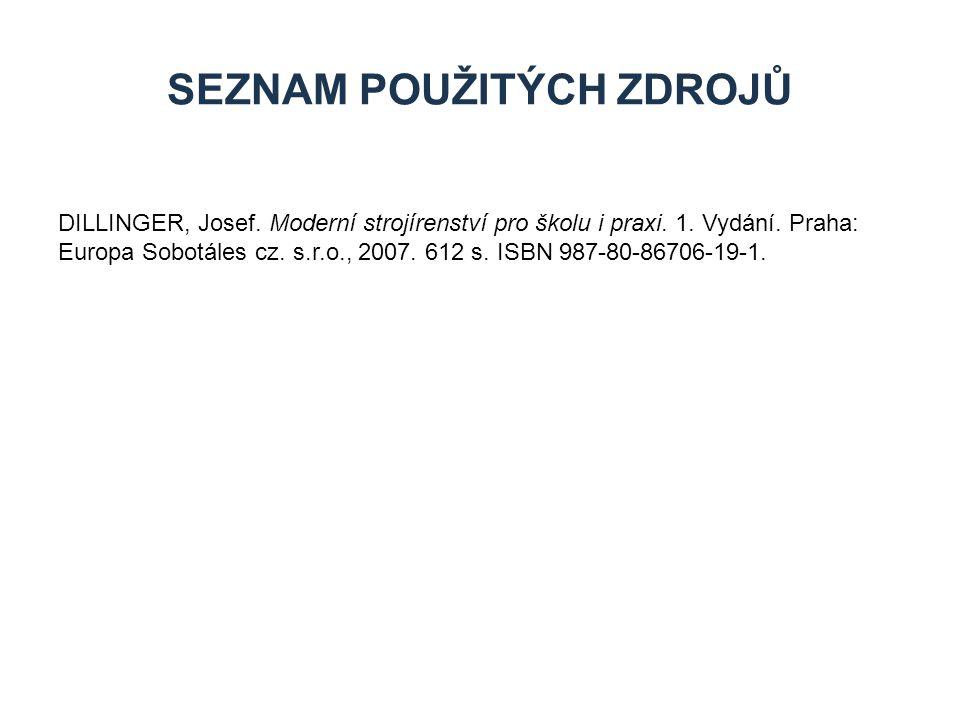 DILLINGER, Josef. Moderní strojírenství pro školu i praxi. 1. Vydání. Praha: Europa Sobotáles cz. s.r.o., 2007. 612 s. ISBN 987-80-86706-19-1. SEZNAM