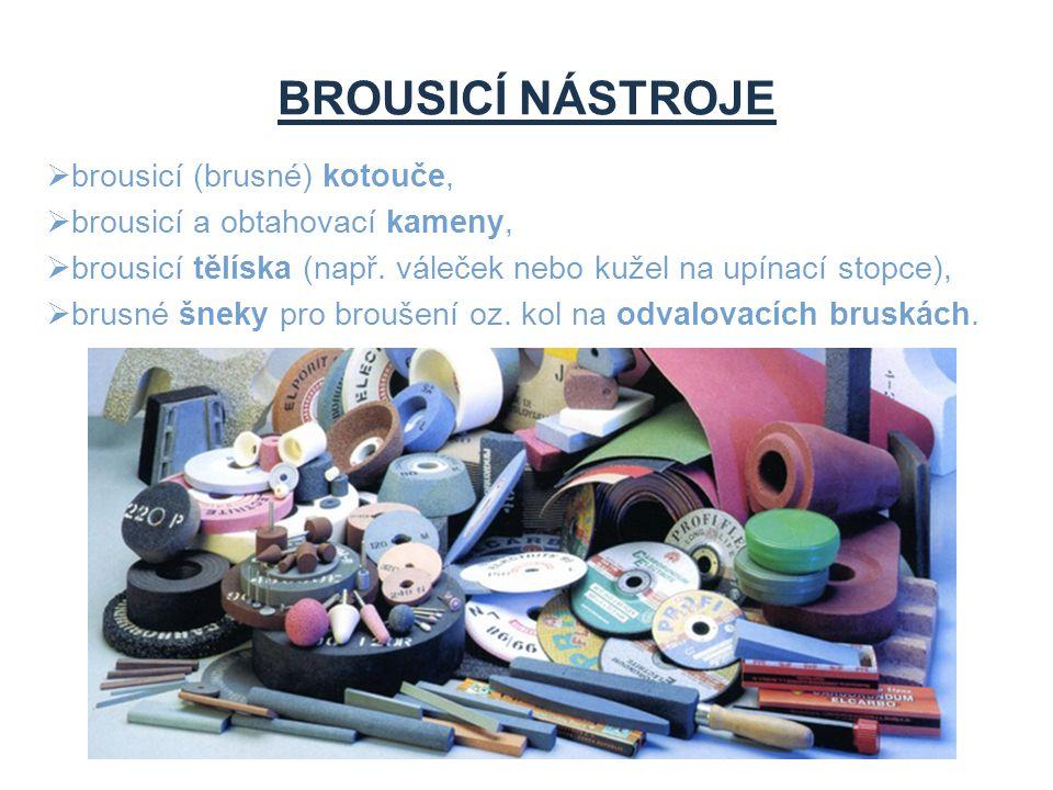 BROUSICÍ NÁSTROJE  brousicí (brusné) kotouče,  brousicí a obtahovací kameny,  brousicí tělíska (např. váleček nebo kužel na upínací stopce),  brus