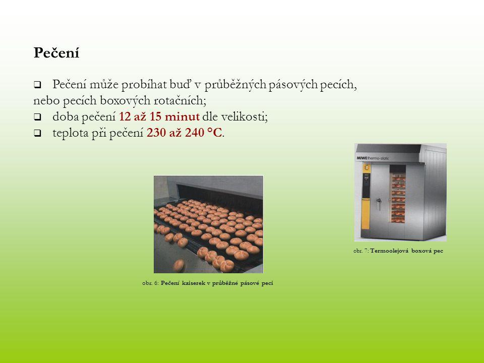 Pečení  Pečení může probíhat buď v průběžných pásových pecích, nebo pecích boxových rotačních;  doba pečení 12 až 15 minut dle velikosti;  teplota