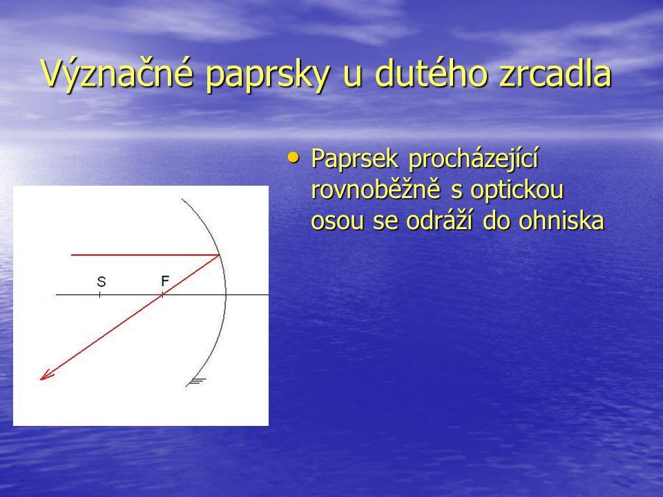 Význačné paprsky u dutého zrcadla Paprsek procházející rovnoběžně s optickou osou se odráží do ohniska Paprsek procházející rovnoběžně s optickou osou