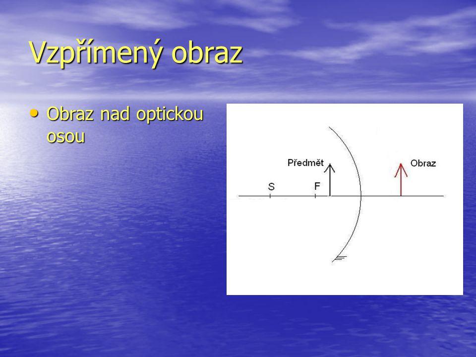 Vzpřímený obraz Obraz nad optickou osou Obraz nad optickou osou