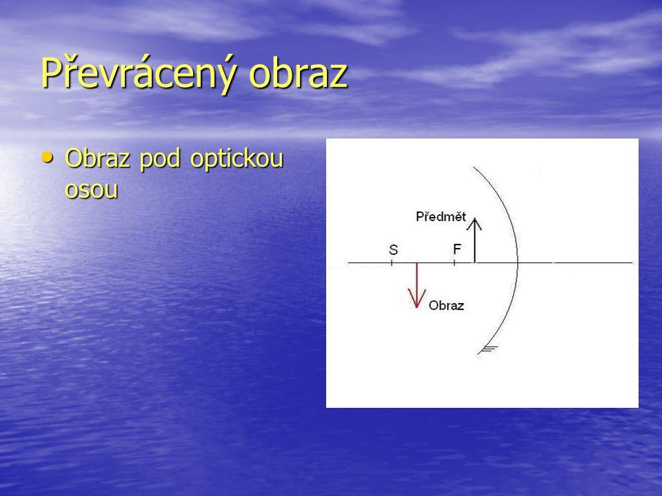 Převrácený obraz Obraz pod optickou osou Obraz pod optickou osou