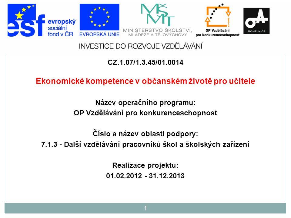 CZ.1.07/1.3.45/01.0014 Ekonomické kompetence v občanském životě pro učitele Název operačního programu: OP Vzdělávání pro konkurenceschopnost Číslo a n