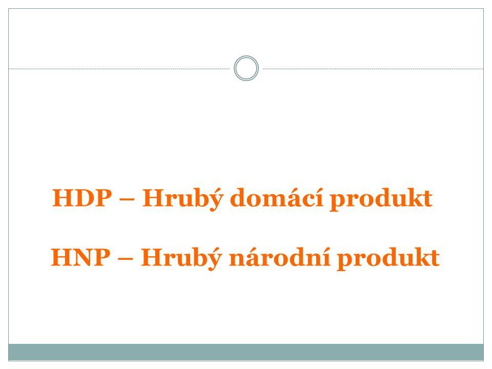 HDP – Hrubý domácí produkt HNP – Hrubý národní produkt