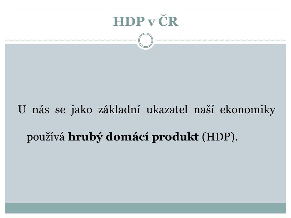 HDP v ČR U nás se jako základní ukazatel naší ekonomiky používá hrubý domácí produkt (HDP).