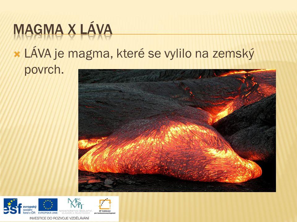  LÁVA je magma, které se vylilo na zemský povrch.