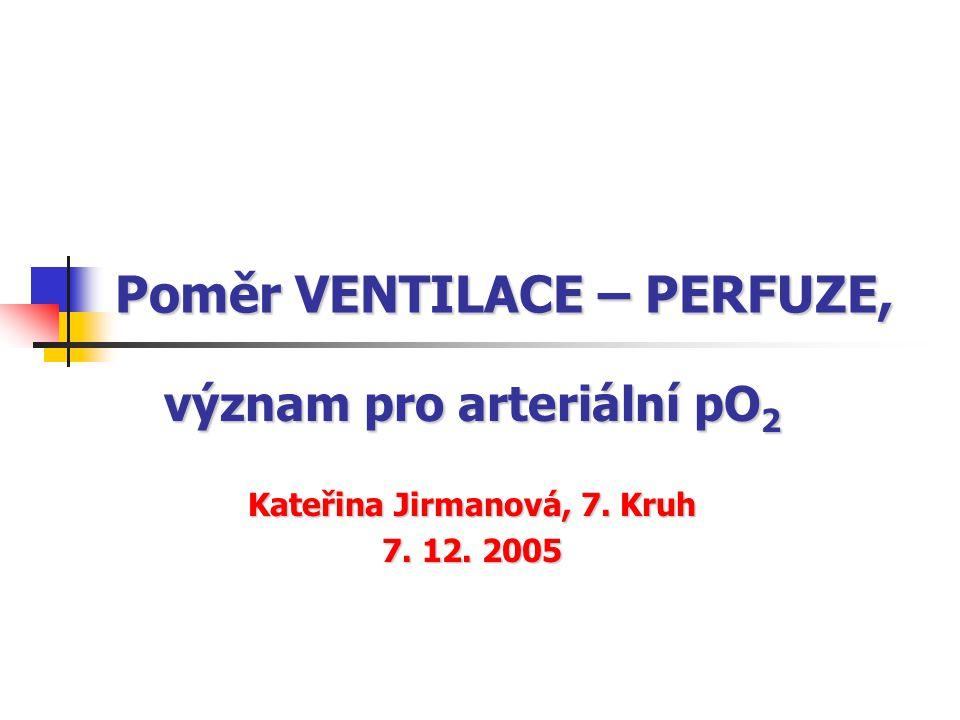 Základní pojmy VENTILACEV vedení vzduchu dýchacími cestami, jeho proudění z nosu (úst) do plicních alveolů zajišťuje proces výměny vzduchu mezi alveoly a zevní atmosférou maximální sycení vodní parou ---->V = 0,4 (0,5) ·12 (15) = 5 - 7 l/min PERFUZEQ prokrvení plic kapilární síť v kontaktu s alveoly plícemi prochází celý minutový výdej srdeční !!.