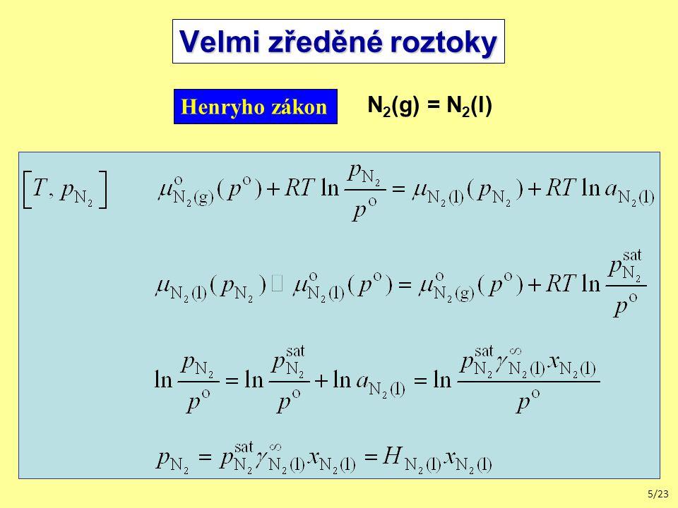 5/23 Velmi zředěné roztoky Henryho zákon N 2 (g) = N 2 (l)