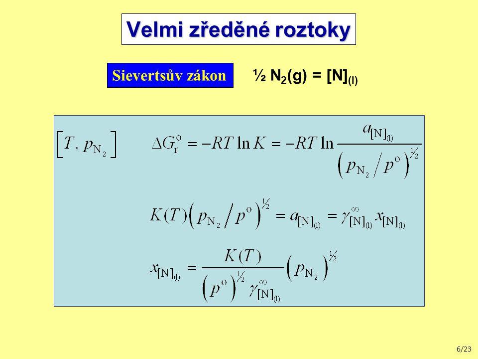 6/23 Velmi zředěné roztoky Sievertsův zákon ½ N 2 (g) = [N] (l)