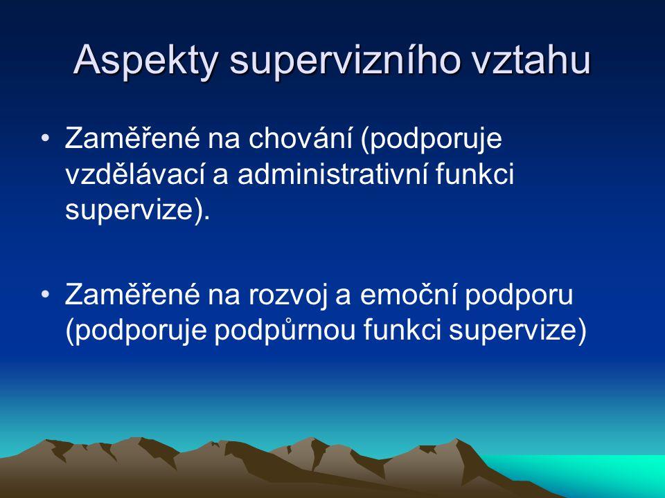 Aspekty supervizního vztahu Zaměřené na chování (podporuje vzdělávací a administrativní funkci supervize). Zaměřené na rozvoj a emoční podporu (podpor