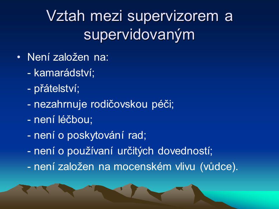 Vztah mezi supervizorem a supervidovaným Není založen na: - kamarádství; - přátelství; - nezahrnuje rodičovskou péči; - není léčbou; - není o poskytov