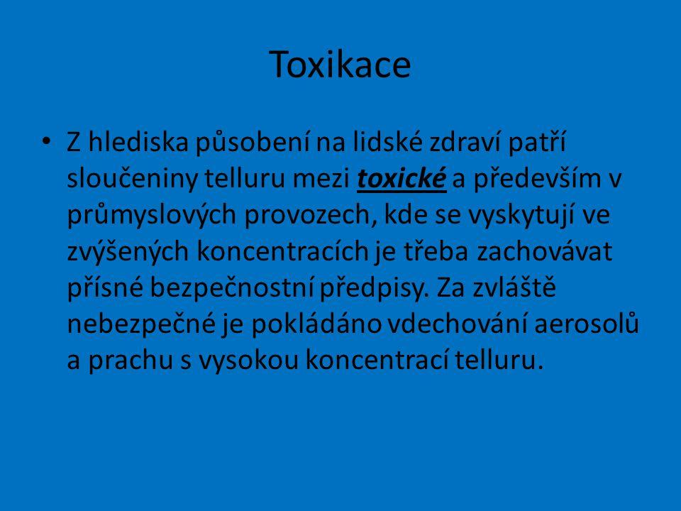 Toxikace Z hlediska působení na lidské zdraví patří sloučeniny telluru mezi toxické a především v průmyslových provozech, kde se vyskytují ve zvýšených koncentracích je třeba zachovávat přísné bezpečnostní předpisy.