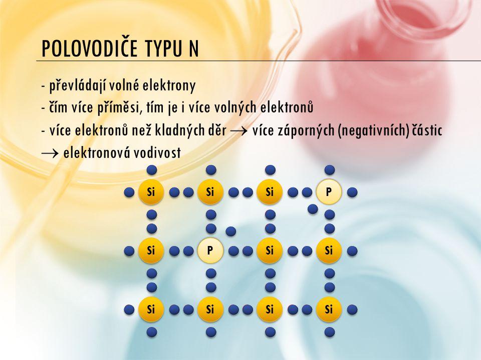 POLOVODIČE TYPU N - převládají volné elektrony - čím více příměsi, tím je i více volných elektronů - více elektronů než kladných děr  více záporných
