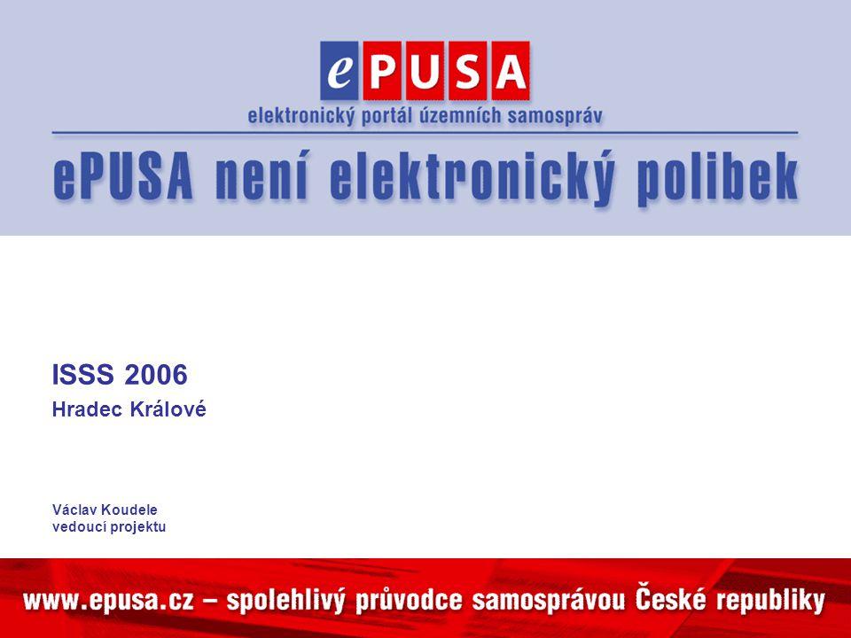 Naplněnost daty Vstupy: –Přímo ePUSA –MOOL –Z PVS –Očekáváme z HZS Naplněnost se zvýší oficiálním dopisem od ministra vnitra a ministryně informatiky Ohlásí se na ISSS 2006 – splnění slibu z roku 2003