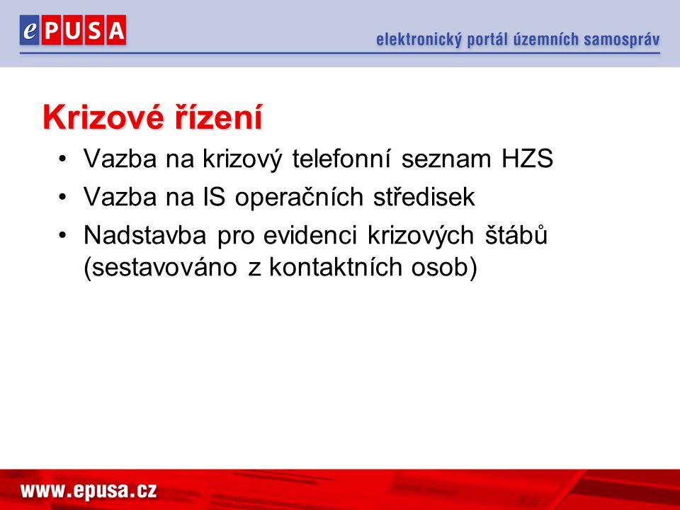 Krizové řízení Vazba na krizový telefonní seznam HZS Vazba na IS operačních středisek Nadstavba pro evidenci krizových štábů (sestavováno z kontaktníc