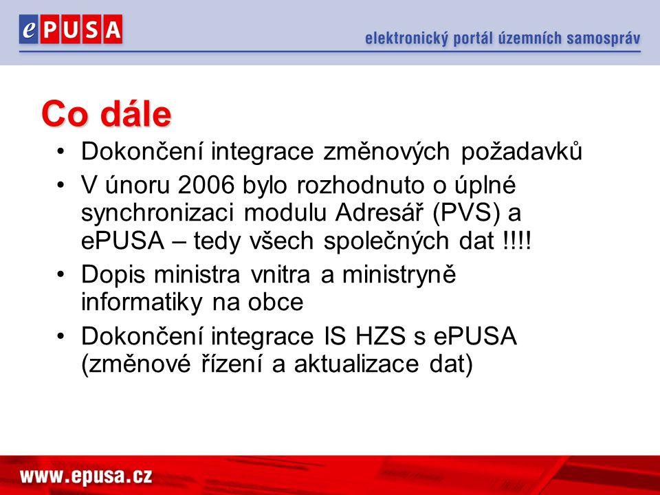 Co dále Dokončení integrace změnových požadavků V únoru 2006 bylo rozhodnuto o úplné synchronizaci modulu Adresář (PVS) a ePUSA – tedy všech společnýc