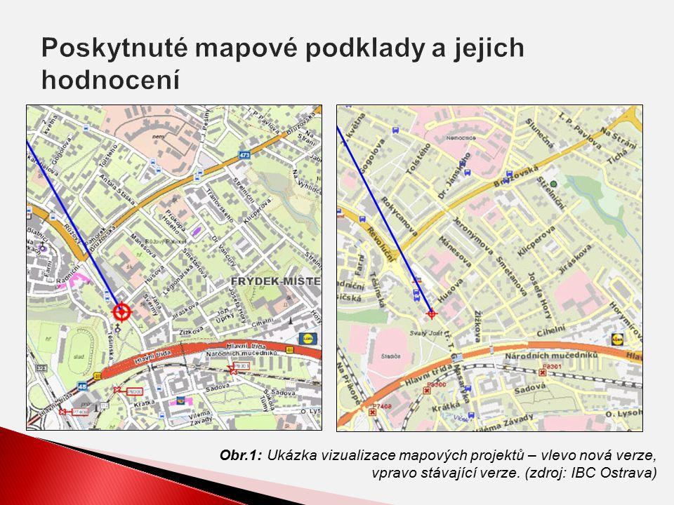 Obr.1: Ukázka vizualizace mapových projektů – vlevo nová verze, vpravo stávající verze.