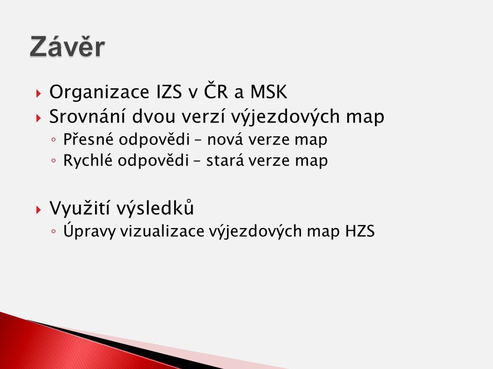  Organizace IZS v ČR a MSK  Srovnání dvou verzí výjezdových map ◦ Přesné odpovědi – nová verze map ◦ Rychlé odpovědi – stará verze map  Využití výsledků ◦ Úpravy vizualizace výjezdových map HZS