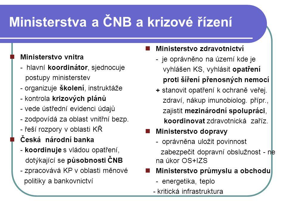 Ministerstva a ČNB a krizové řízení Ministerstvo vnitra - hlavní koordinátor, sjednocuje postupy ministerstev - organizuje školení, instruktáže - kontrola krizových plánů - vede ústřední evidenci údajů - zodpovídá za oblast vnitřní bezp.