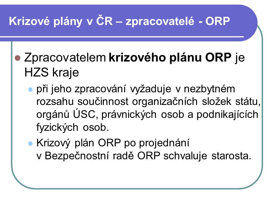 Krizové plány v ČR – zpracovatelé - ORP Zpracovatelem krizového plánu ORP je HZS kraje při jeho zpracování vyžaduje v nezbytném rozsahu součinnost org
