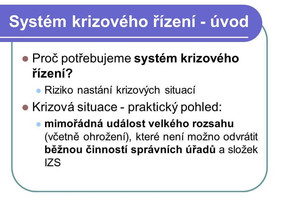 Systém krizového řízení - úvod Proč potřebujeme systém krizového řízení? Riziko nastání krizových situací Krizová situace - praktický pohled: mimořádn