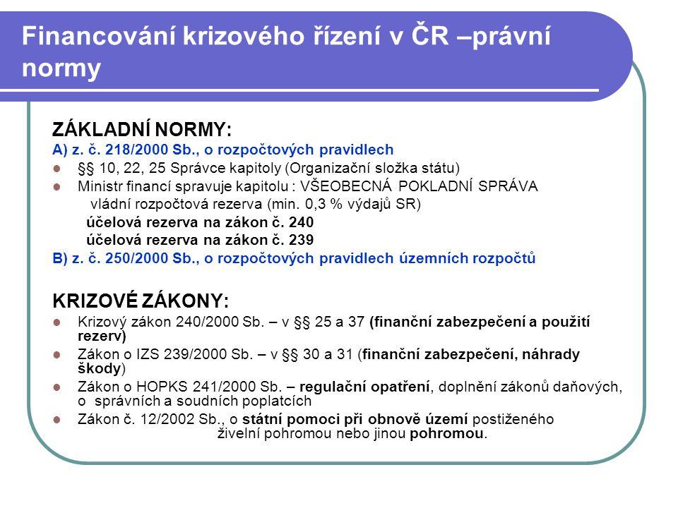 Financování krizového řízení v ČR –právní normy ZÁKLADNÍ NORMY: A) z. č. 218/2000 Sb., o rozpočtových pravidlech §§ 10, 22, 25 Správce kapitoly (Organ