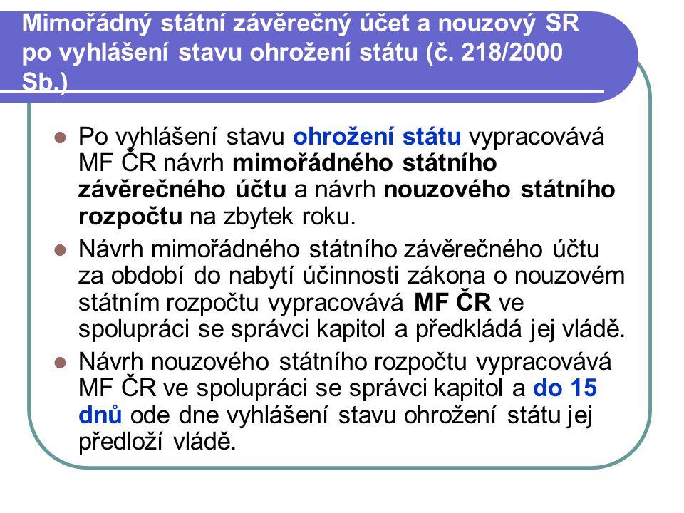 Mimořádný státní závěrečný účet a nouzový SR po vyhlášení stavu ohrožení státu (č.