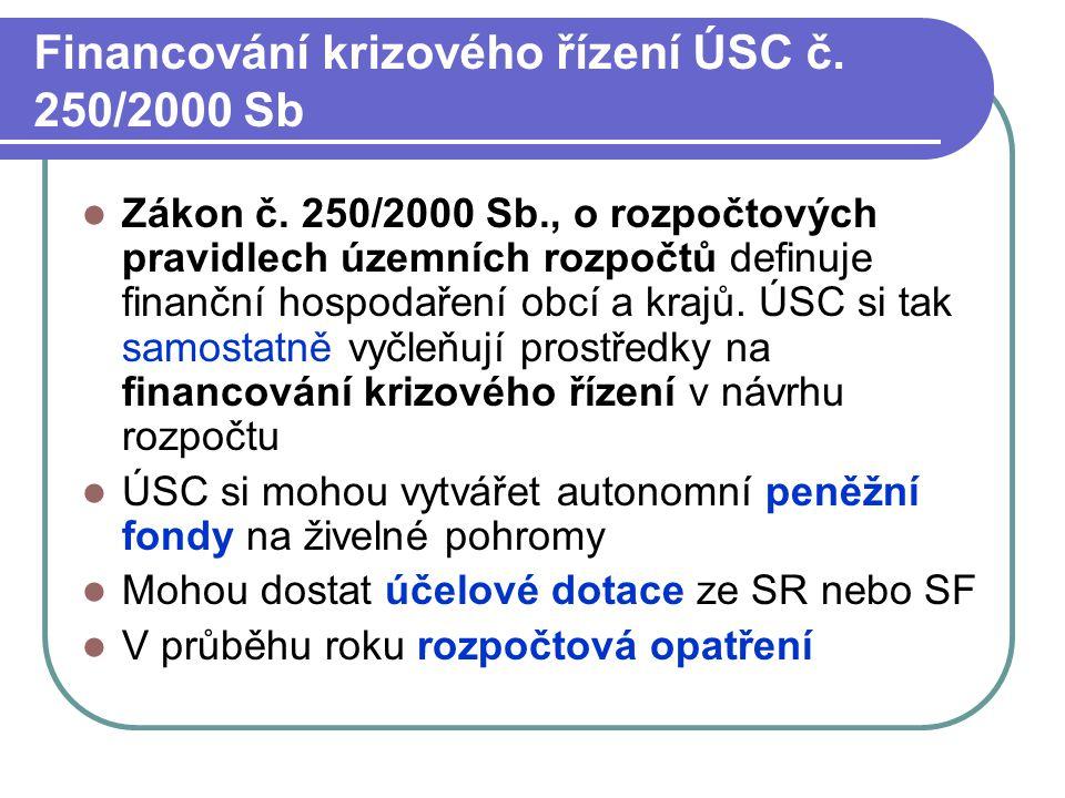 Financování krizového řízení ÚSC č. 250/2000 Sb Zákon č. 250/2000 Sb., o rozpočtových pravidlech územních rozpočtů definuje finanční hospodaření obcí