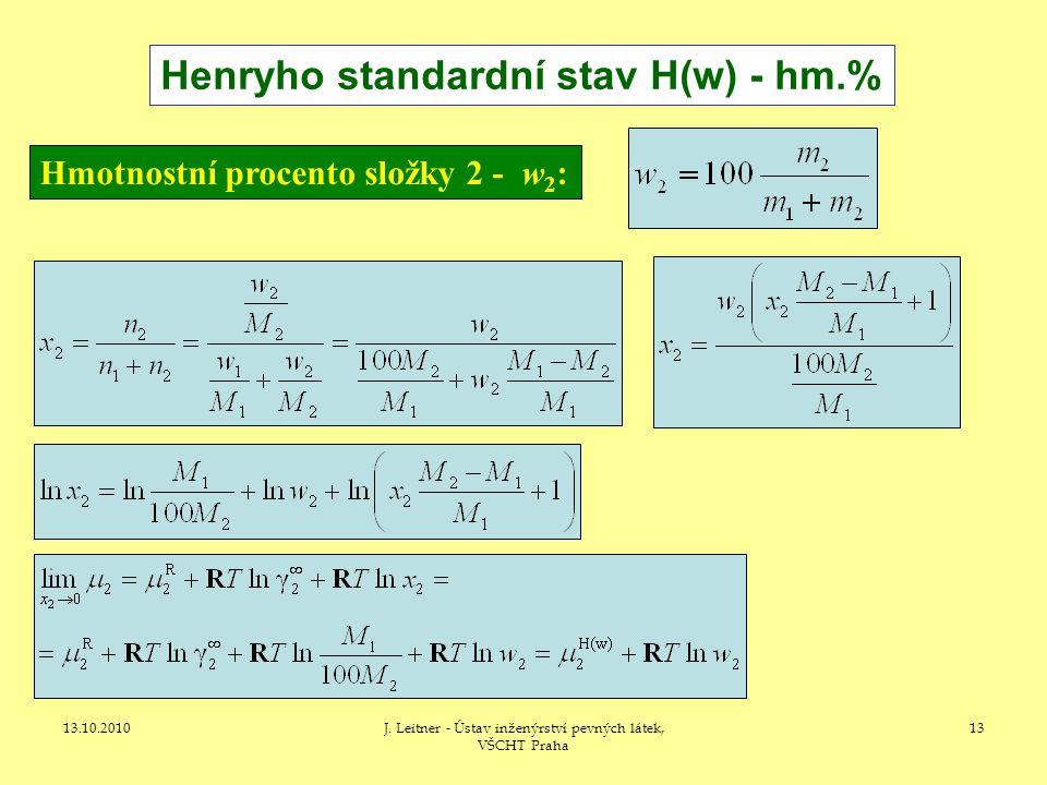 13.10.2010J. Leitner - Ústav inženýrství pevných látek, VŠCHT Praha 13 Henryho standardní stav H(w) - hm.% Hmotnostní procento složky 2 - w 2 :