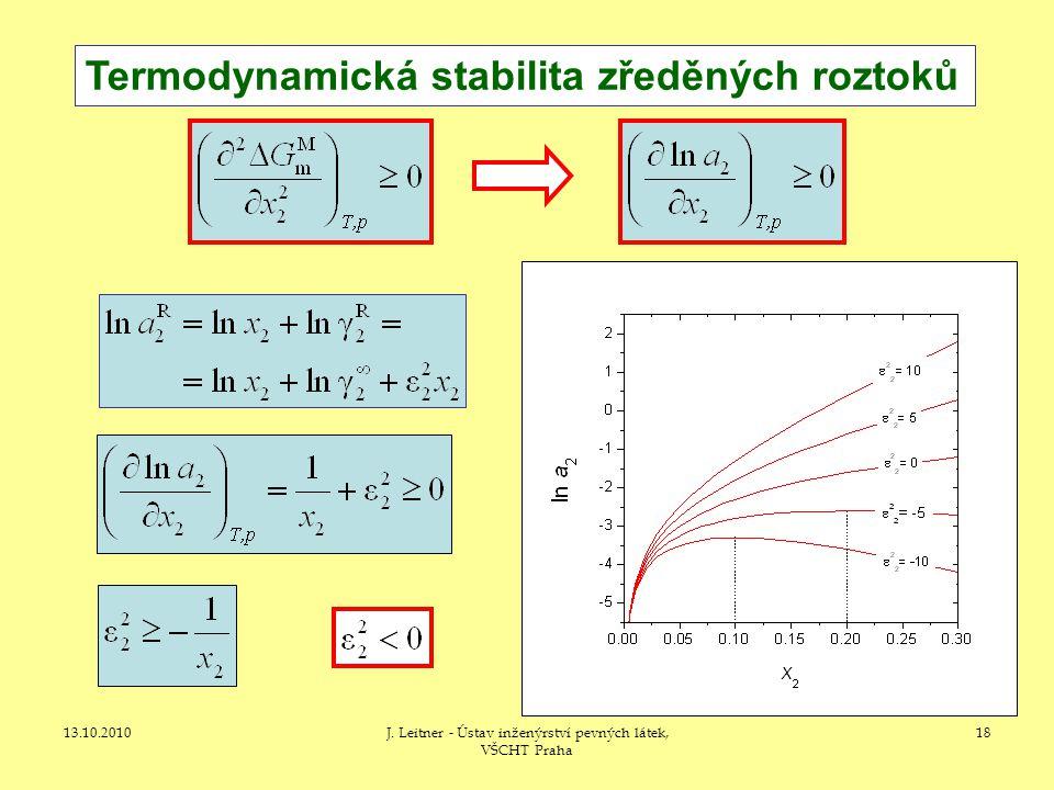 13.10.2010J. Leitner - Ústav inženýrství pevných látek, VŠCHT Praha 18 Termodynamická stabilita zředěných roztoků
