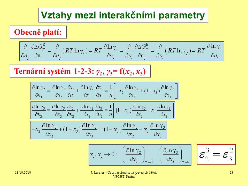 13.10.2010J. Leitner - Ústav inženýrství pevných látek, VŠCHT Praha 23 Vztahy mezi interakčními parametry Ternární systém 1-2-3: γ 2, γ 3 = f(x 2, x 3