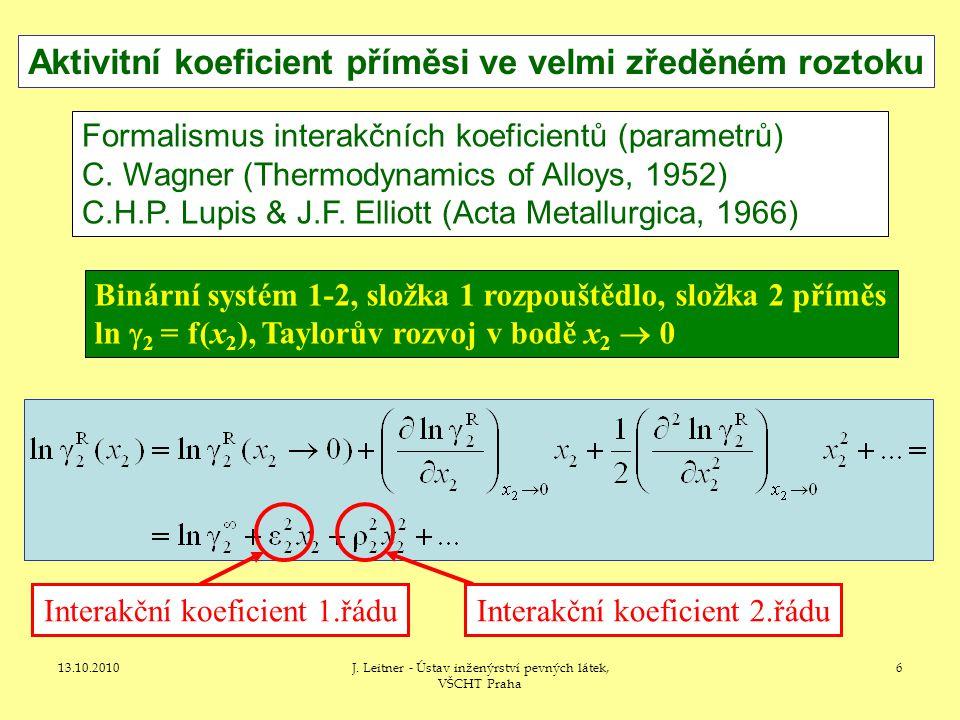 13.10.2010J. Leitner - Ústav inženýrství pevných látek, VŠCHT Praha 7
