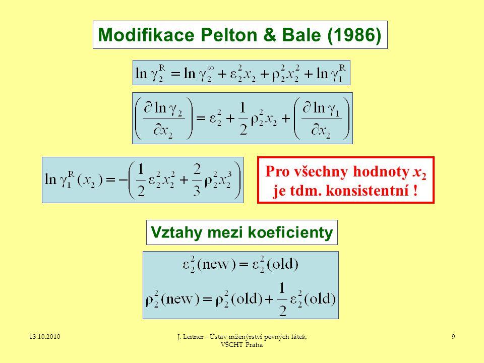 13.10.2010J. Leitner - Ústav inženýrství pevných látek, VŠCHT Praha 9 Modifikace Pelton & Bale (1986) Pro všechny hodnoty x 2 je tdm. konsistentní ! V