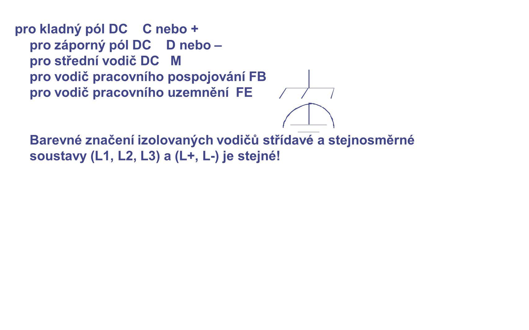 pro kladný pól DC C nebo + pro záporný pól DC D nebo – pro střední vodič DC M pro vodič pracovního pospojování FB pro vodič pracovního uzemnění FE Bar