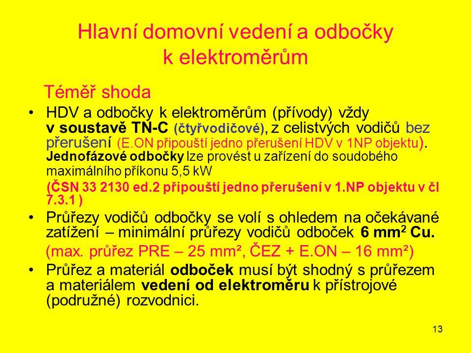 13 Hlavní domovní vedení a odbočky k elektroměrům Téměř shoda HDV a odbočky k elektroměrům (přívody) vždy v soustavě TN-C (čtyřvodičové), z celistvých
